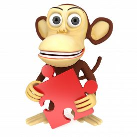 picture of chimp  - 3d funny monkey with red puzzle - JPG