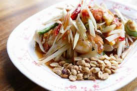 foto of cuttlefish  - spicy papaya salad with shrimp cuttlefish and sea mussel - JPG