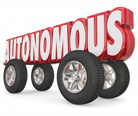 image of designated driver  - Autonomous 3d red word with wheels or tires to illustrate a self - JPG