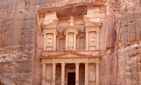 image of treasury  - Al Khazneh or The Treasury at Petra Jordan - JPG
