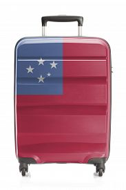 image of samoa  - Suitcase painted into national flag series  - JPG