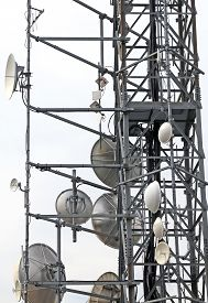 pic of wiretap  - large telecommunications antennas and repeaters of television and telephone signals  - JPG