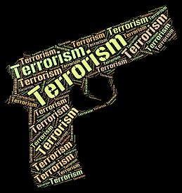 stock photo of terrorist  - Terrorism Word Indicating Freedom Fighter And Terrorist - JPG