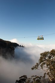 picture of three sisters  - Cableway above three sisters rocks Blue Mountains Australia - JPG