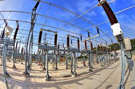 picture of substation  - High voltage switchyard in electrical substation in fisheye perspective - JPG