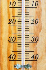 stock photo of outdated  - Scale with graduation of the outdated tool for measurement of temperature of weather - JPG