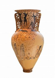stock photo of beheaded  - Replica of a Greek amphora with a depiction of the blinding of Polyphemos by Odysseus and his companions and a scene of Perseus beheading the Medusa - JPG