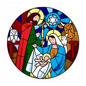 Circle shape with the birth of Jesus Christ scene in stained glass style. Christmas symbol and icon poster