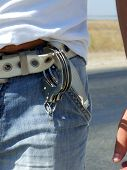 The Handcuffs Hanging On A Belt Of Jeans