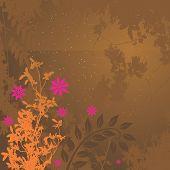 Grunge Floral rosa y anaranjado