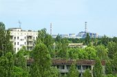 Lost city Pripyat and Chernobyl nuclear power station