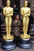 NEW YORK - MARCH 4: Actress/Comedian Sherri Shepherd welcomes two 8-foot golden statues at the New Y