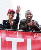 NEW YORK - MAY 1: Halle Berry and Trey Songz at the 13th Annual Entertainment Industry Foundation Revlon Run/Walk for Women in Times Square on May 1, 2010 in New York City.