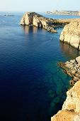 image of greek-island  - Rocky coastline in Lindos bay Rhodes Greece - JPG