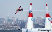 NEW JERSEY - JUNE 19: Pilot Kirby Chambliss from Massachusetts qualifies for the Red Bull Air Race o