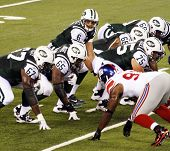 EAST RUTHERFORD, NJ - AUGUST 16: New York Jets Quarterback Mark Sanchez in action against the New Yo