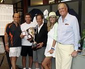 EAST HAMPTON - AUGUST 22:  Jimmy Arias, Michael Milken and Rick Leach attend the Charles Evans PCF Pro-Am Tour benefiting the Prostate Cancer Foundation at the Ross School Tennis Facility on August 22, 2010 in East Hampton, NY.