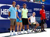 FLUSHING, NY - AUGUST 28: Roger Federer, Kim Clijsters, Rafael Nadal, Esther Vergeer attend Arthur Ashe Kids Day at Billie Jean King National Tennis Center on August 28, 2010 in Flushing, New York.