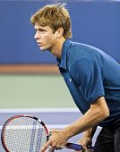 FLUSHING, NY - SEPTEMBER 4: Ryan Harrison (USA) waits for serve during mixed doubles at the US Open Tennis Tournament at Billie Jean King National Tennis Center on September 4, 2010 in Flushing, NY.