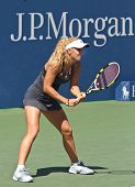 FLUSHING, NY - SEPTEMBER 4: Caroline Wozniacki (DEN) waits for serve during womens singles at US Open Tennis Tournament at Billie Jean King National Tennis Center on September 4, 2010 in Flushing, NY.