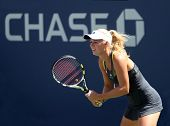 FLUSHING, NY - SEPTEMBER 4: Caroline Wozniacki waits for a serve during womens singles at the US Open Tennis Tournament at the Billie Jean National Tennis Center on September 4, 2010 in  Flushing, NY.