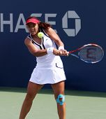 FLUSHING, NY - SEPTEMBER 4: Yung-Jan Chan (TPE) volleys during womens singles at the US Open Tennis Tournament at the Billie Jean National Tennis Center on September 4, 2010 in  Flushing, NY.