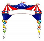 Festive Red, White And Blue Circus Tent Banner