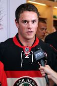 NEW YORK - SEPTEMBER 8: Jonathan Toews, captain of the Chicago Blackhawks, attends the launch event