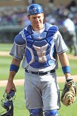 SCOTTSDALE, AZ - MARCH 7: Los Angeles Dodgers catcher A.J. Ellis walks to the dugout against the Col