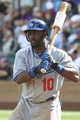 SCOTTSDALE, AZ - MARCH 7: Los Angeles Dodgers outfielder Tony Gwynn Jr. takes a swing against the Co