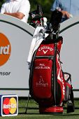 ORLANDO, FL - MARCH 23: Phil Mickelson's golf club bag during a practice round at the Arnold Palmer