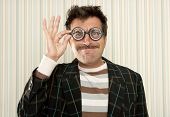 nerd silly crazy myopic glasses man funny gesture mustache tacky retro