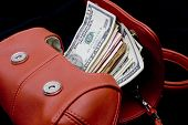 colorful modern purse with money