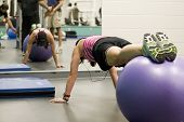 foto of gym workout  - gym ball workout - JPG