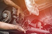 Car Mechanic Repairing Brakes Pads Auto Repair In Garage, Car Service Automobile Station poster