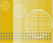wire frame globes on subtle striped background with elements
