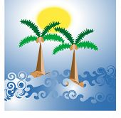 tropical ocean and palm vector