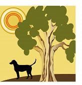 dog outdoors illustration