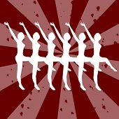 chorus-line dancing girls silhouette