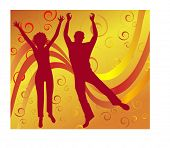 stock photo of scrollwork  - male and female jumping with scrollwork behind - JPG