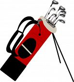 golf bag with clubs isolated