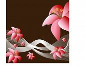 flowers pink on brown vector