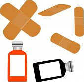 bandaids and medicine bottles  vector