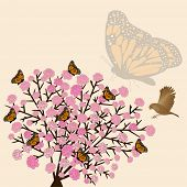 flower bush butterflies and bird vector