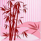 bamboo over stripes vector (pink red and white)