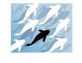 stylized fish swimming upstream vector