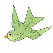 swooping stylized bird