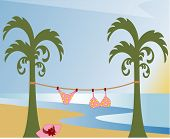 tropical fun - make sure you behave girls! vector