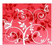 funky coils and butterflies with berries vector