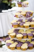 cupcakes on tier at wedding reception